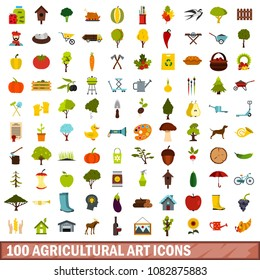 100 agricultural art icons set in flat style for any design illustration