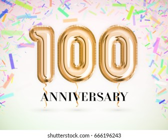 100 Anniversary celebration with Brilliant Gold balloons & colorful alive confetti. 3d Illustration design for your unique anniversary background,invitation,card,Celebration party years anniversary