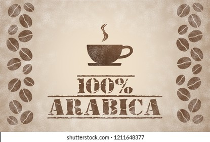100% Arabica coffee, illustration with coffee beans and a cup of hot coffee