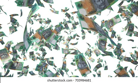 100 Australian dollar (AUD), Australia Money banknotes flying isolated on white background, 3D Rendering