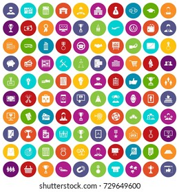 100 business career icons set in different colors circle isolated  illustration