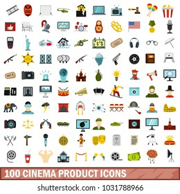100 cinema product icons set in flat style for any design illustration