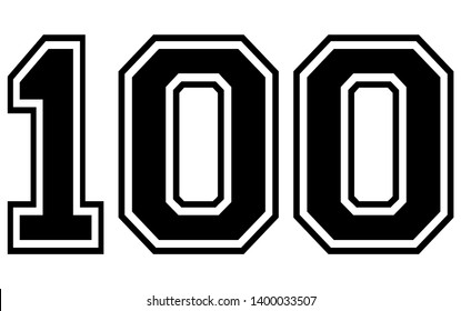 100 Classic Vintage Sport Jersey / Uniform numbers in black with a black outside contour line number on white background for American football, Baseball and Basketball