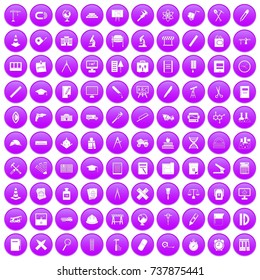 100 compass icons set in purple circle isolated on white  illustration