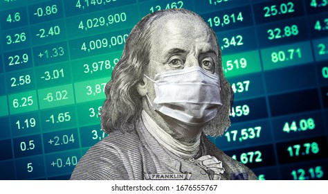 100 dollar bill Franklin with protective face mask on green stock market chart background.