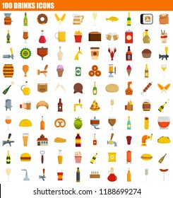 100 drinks icon set. Flat set of 100 drinks icons for web design