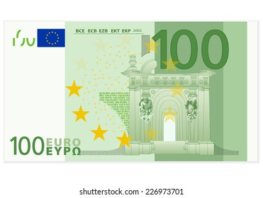 100 euro banknote illustration.
