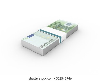 100 euro banknotes (bills) bundles isolated on white background