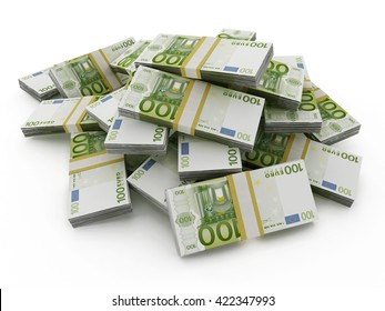 100 Euro money lots forming a pile isolated on white background. 3D illustration.