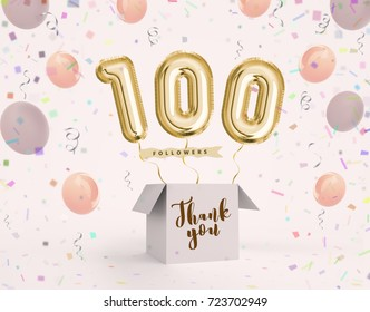 100 follower, 100 like thank you with gold balloons and colorful confetti. Illustration 3d render for your social network friends, followers, web user Thank you celebrate of subscriber, follower, like