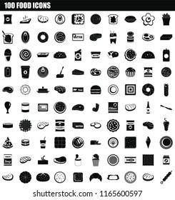 100 food icon set. Simple set of 100 food icons for web design isolated on white background