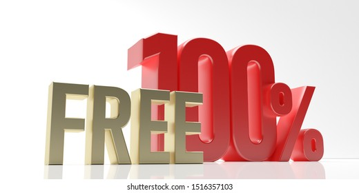 100% free, one hundred percent free text, gold red color isolated against white background. 3d illustration