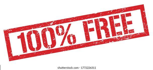 100% FREE red grungy rectangle stamp sign.