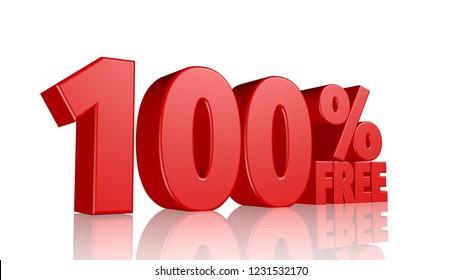 100% Free text 3d render