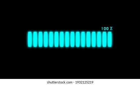100% Futuristic Loading Transfer Download in neon effect. light blue loading bar on black screen