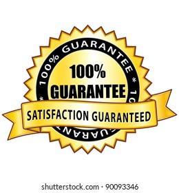 100% guarantee. Satisfaction guaranteed golden icon.