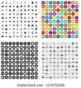 100 horsemanship icons set in 4 variant for any web design isolated on white