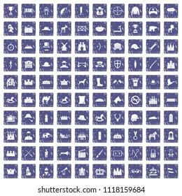 100 horsemanship icons set in grunge style sapphire color isolated on white background illustration