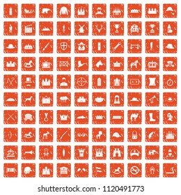 100 horsemanship icons set in grunge style orange color isolated on white background illustration
