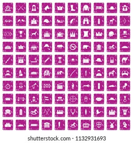 100 horsemanship icons set in grunge style pink color isolated on white background illustration