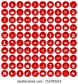 100 horsemanship icons set in red circle isolated on white  illustration