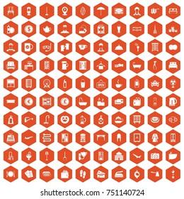 100 inn icons set in orange hexagon isolated  illustration