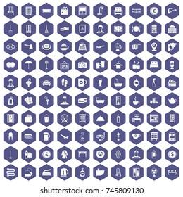 100 inn icons set in purple hexagon isolated  illustration