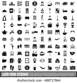 100 inn icons set in simple style for any design  illustration