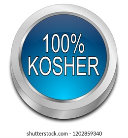 100% Kosher Button - 3D illustration