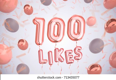 100 like or one hundred likes, followers thank you with Rose Gold balloons and colorful confetti. For Social Network friends, followers, Web user Thank you celebrate of subscribers or followers, likes