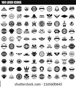 100 logo icon set. Simple set of 100 logo icons for web design isolated on white background