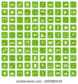 100 musical education icons set in grunge style green color isolated on white background illustration