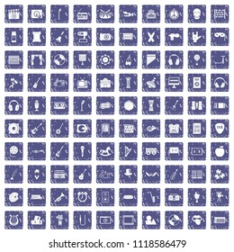 100 musical education icons set in grunge style sapphire color isolated on white background illustration