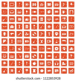 100 musical education icons set in grunge style orange color isolated on white background illustration