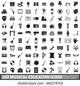 100 musical education icons set in simple style for any design  illustration
