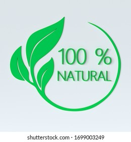 100% natural logo with 3d effect. Rendering