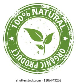 100% Natural Organic product green round rubber stamp icon isolated on white background. Healthy fresh food symbol. illustration