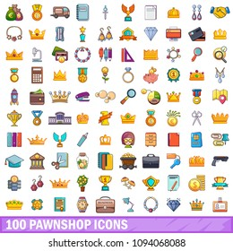100 pawnshop icons set in cartoon style for any design illustration