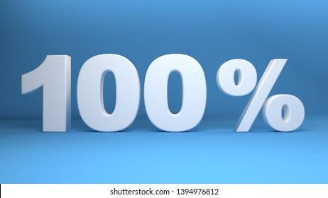 100 Percent, 3D text on light blue background, 3d illustration