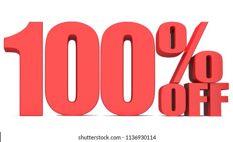 100 Percent off 3d Sign on White Background, Special Offer 100% Discount Tag, Sale Up to 100 Percent Off,big offer, Sale, Special Offer Label, Sticker, Tag, Banner, Advertising, offer Icon