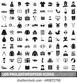 100 philanthropism icons set in simple style for any design  illustration