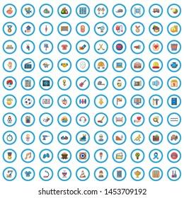 100 philanthropy icons set. Cartoon illustration of 100 philanthropy icons isolated on white background