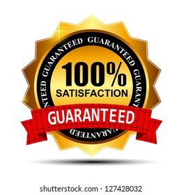 100% SATISFACTION guaranteed gold label with red ribbon  Raster version illustration