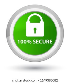 100% secure isolated on prime green round button abstract illustration