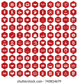 100 sweepstakes icons set in red hexagon isolated  illustration