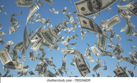 100 US Dollar, bills flying on blue sky background, 3D Rendering without motion blur