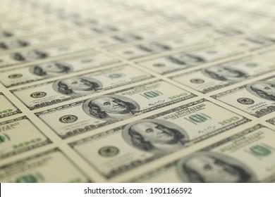 100 USA dollar bills arranged in a row. 3D rendering illustration.