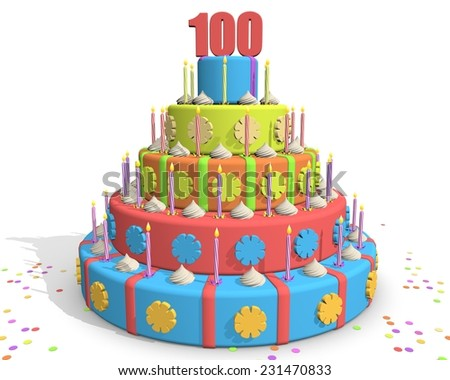 100 Year Anniversary Cake With Candles
