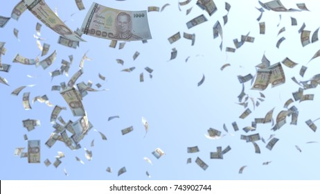 1000 Bath, One Thousand Bath Banknotes, Thai money bills flying in the air over blue sky background, 3D Rendering