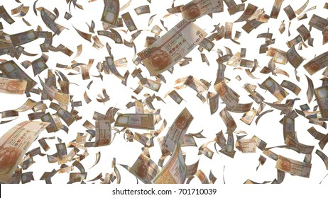 1000 Hong Kong Dollar (HKD), Hong Kong banknotes flying Isolated on white background, 3D Rendering